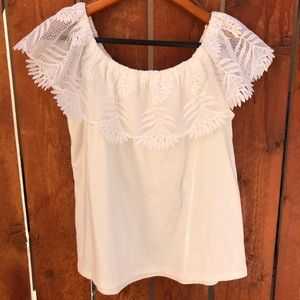 Off-shoulder Lacey Tee